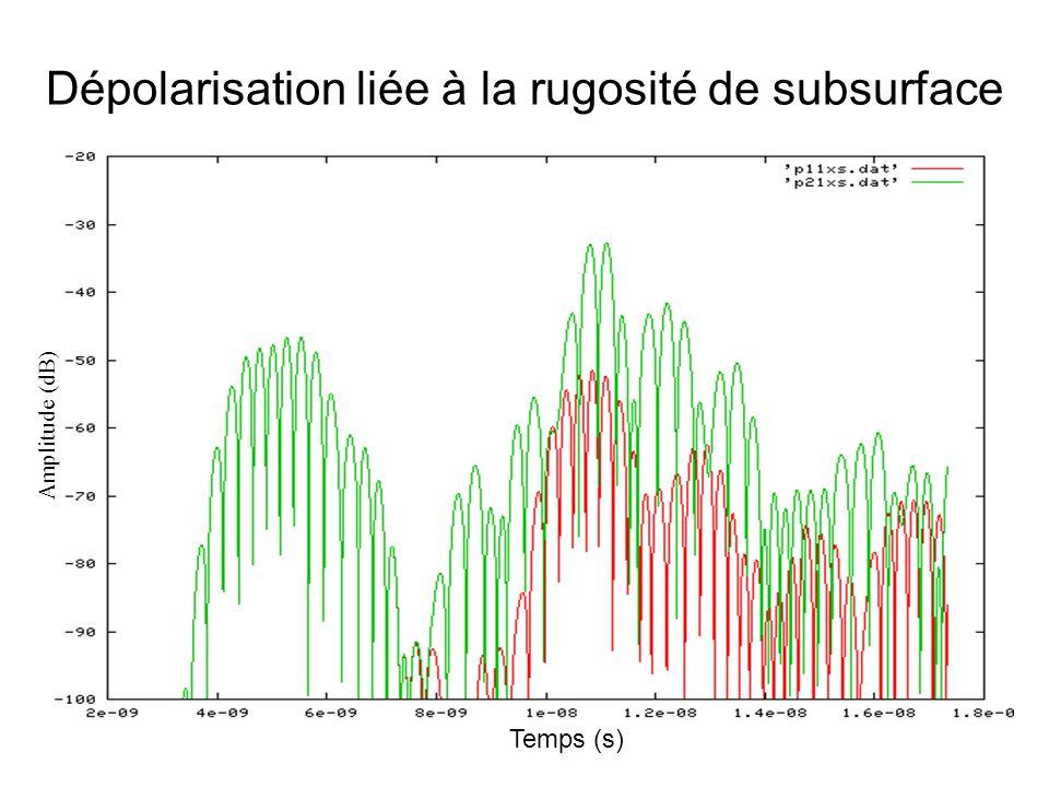 Dépolarisation liée à la rugosité de subsurface Temps (s) Amplitude (dB)