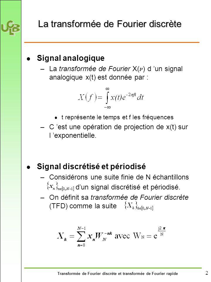 Transformée de Fourier discrète et transformée de Fourier rapide 2 La transformée de Fourier discrète Signal analogique –La transformée de Fourier X( ) d 'un signal analogique x(t) est donnée par : t représente le temps et f les fréquences –C 'est une opération de projection de x(t) sur l 'exponentielle.