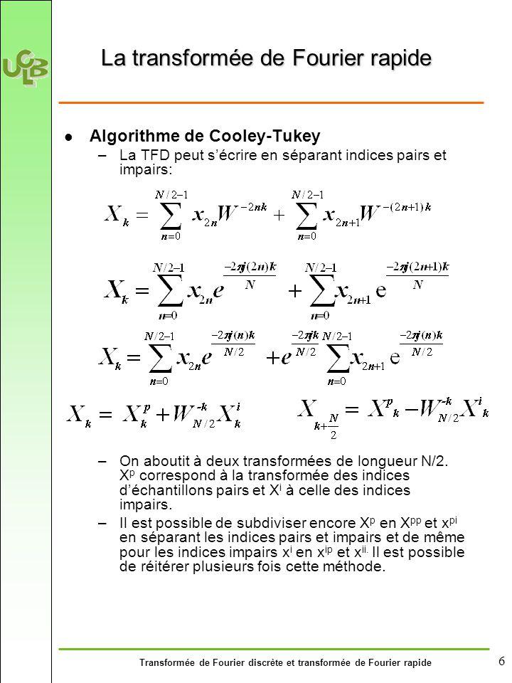 Transformée de Fourier discrète et transformée de Fourier rapide 6 La transformée de Fourier rapide Algorithme de Cooley-Tukey –La TFD peut s'écrire en séparant indices pairs et impairs: –On aboutit à deux transformées de longueur N/2.
