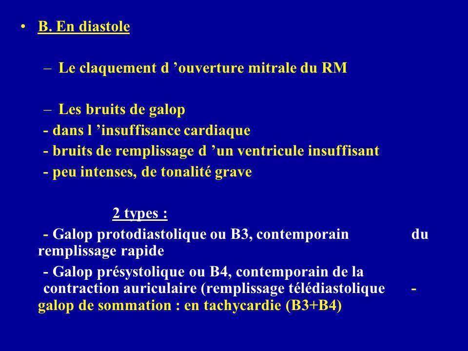 B. En diastole –Le claquement d 'ouverture mitrale du RM –Les bruits de galop - dans l 'insuffisance cardiaque - bruits de remplissage d 'un ventricul