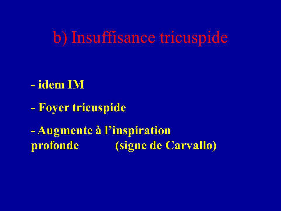 b) Insuffisance tricuspide - idem IM - Foyer tricuspide - Augmente à l'inspiration profonde(signe de Carvallo)
