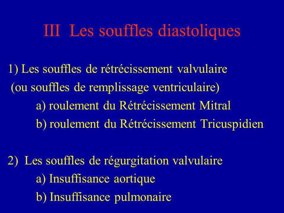 III Les souffles diastoliques 1) Les souffles de rétrécissement valvulaire (ou souffles de remplissage ventriculaire) a) roulement du Rétrécissement M