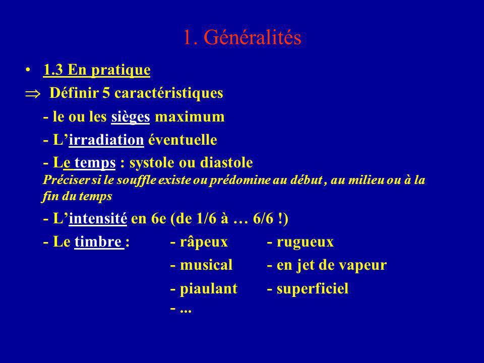 1. Généralités 1.3 En pratique  Définir 5 caractéristiques - le ou les sièges maximum - L'irradiation éventuelle - Le temps : systole ou diastole Pré