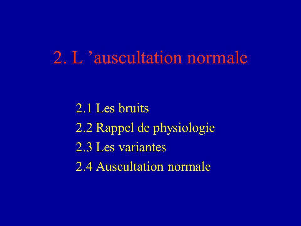 2.1 Les bruits Le 1er bruit = B1 –perçu à tous les foyers (max au foyer mitral) –marque le début de la systole - Précède de très peu la pulsation radiale –correspond à la fermeture des valves auriculo-ventriculaires Le 2e bruit = B2 –perçu à tous les foyers (max aux foyers aortique et pulmonaire) –marque le début de la diastole –correspond à la fermeture des valves aortique et pulmonaire NB : Systole + courte que diastole.