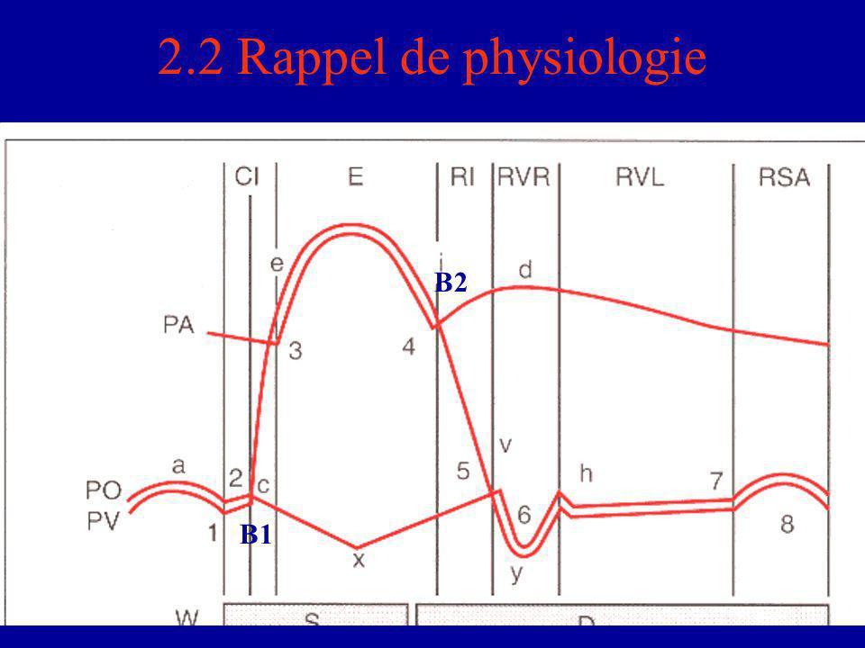 2.3 Les variantes Intensité des bruits du cœur (BDC) variable –chez les pts emphysémateux et obèses : BDC  –chez les pts maigres ou dysneurotoniques : BDC  Dédoublement physiologique du B2 = perception à l'oreille des 2 composantes aortique et pulmonaire du 2e bruit lors de l'inspiration  désynchronisation des 2 ventricules par l'inspiration en  le retour veineux