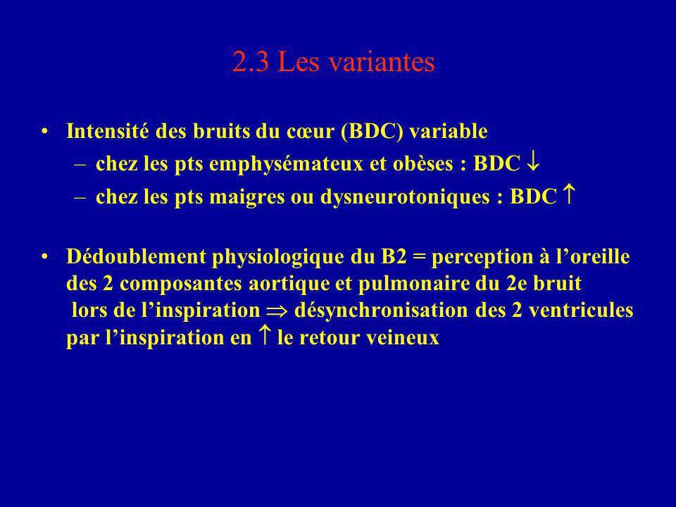 2.3 Les variantes Intensité des bruits du cœur (BDC) variable –chez les pts emphysémateux et obèses : BDC  –chez les pts maigres ou dysneurotoniques
