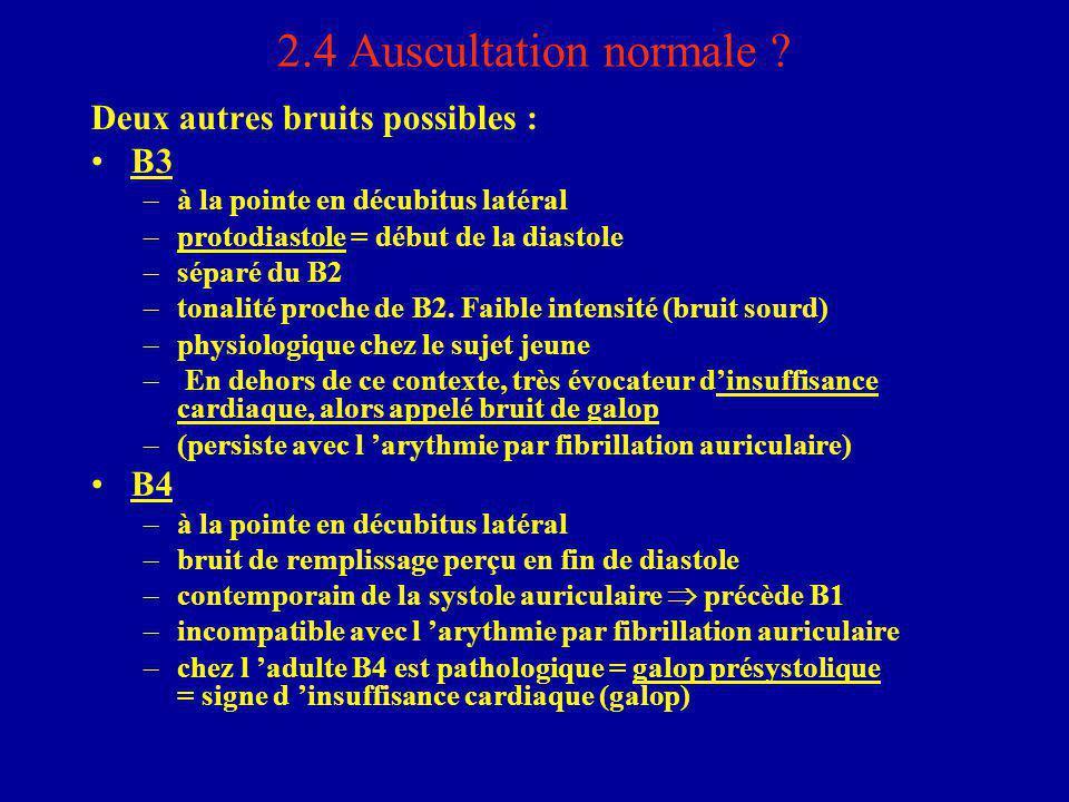 2.4 Auscultation normale ? Deux autres bruits possibles : B3 –à la pointe en décubitus latéral –protodiastole = début de la diastole –séparé du B2 –to