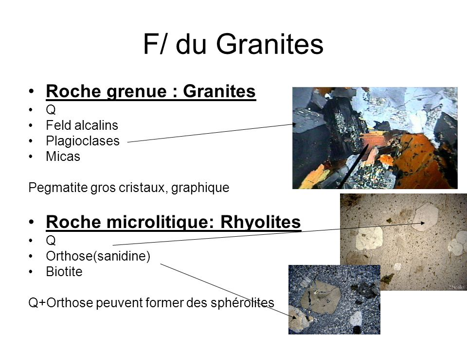 F/ du Granites Roche grenue : Granites Q Feld alcalins Plagioclases Micas Pegmatite gros cristaux, graphique Roche microlitique: Rhyolites Q Orthose(s