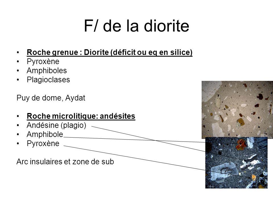 F/ de la diorite Roche grenue : Diorite (déficit ou eq en silice) Pyroxène Amphiboles Plagioclases Puy de dome, Aydat Roche microlitique: andésites An
