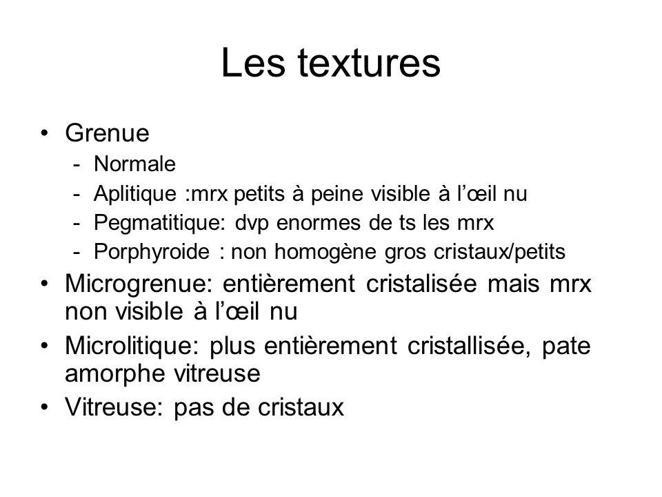 Les textures Grenue -Normale -Aplitique :mrx petits à peine visible à l'œil nu -Pegmatitique: dvp enormes de ts les mrx -Porphyroide : non homogène gr