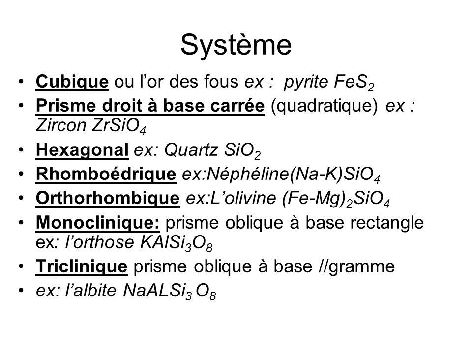 Système Cubique ou l'or des fous ex : pyrite FeS 2 Prisme droit à base carrée (quadratique) ex : Zircon ZrSiO 4 Hexagonal ex: Quartz SiO 2 Rhomboédriq
