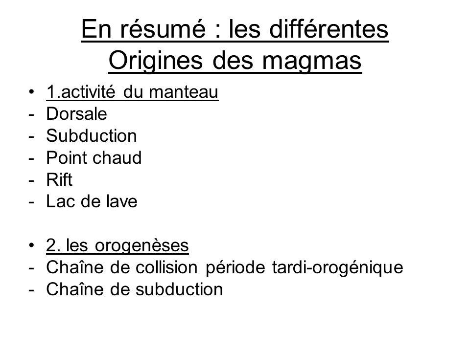 En résumé : les différentes Origines des magmas 1.activité du manteau -Dorsale -Subduction -Point chaud -Rift -Lac de lave 2. les orogenèses -Chaîne d
