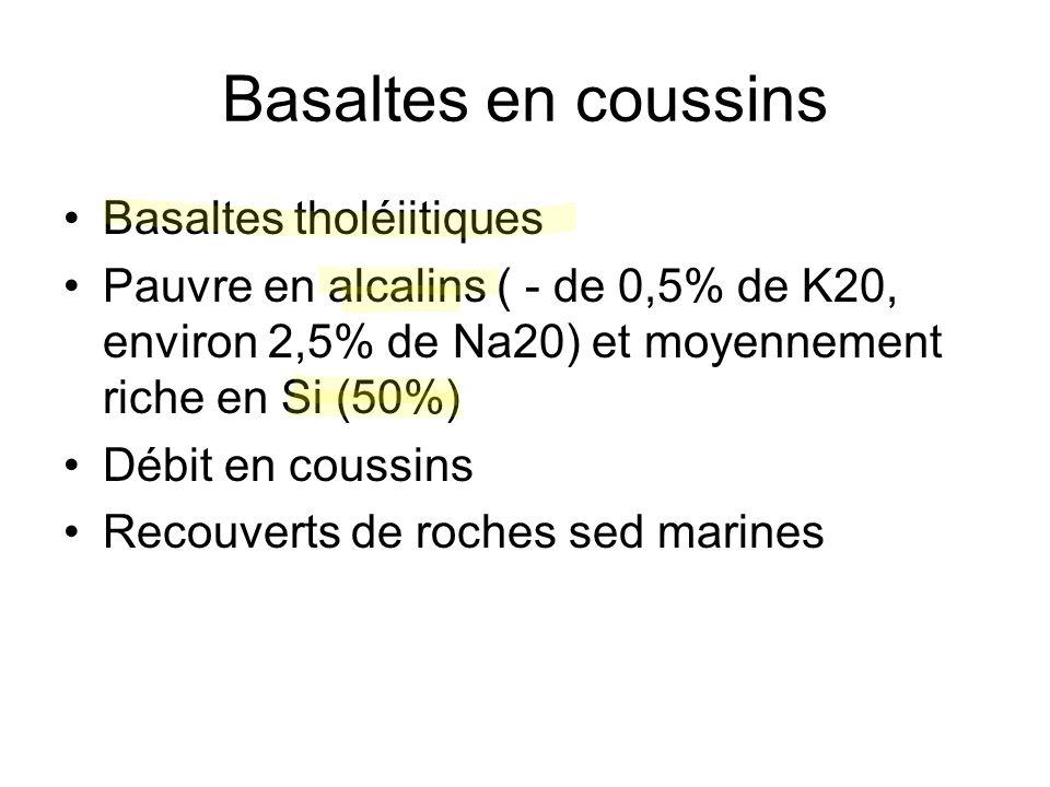 Basaltes en coussins Basaltes tholéiitiques Pauvre en alcalins ( - de 0,5% de K20, environ 2,5% de Na20) et moyennement riche en Si (50%) Débit en cou