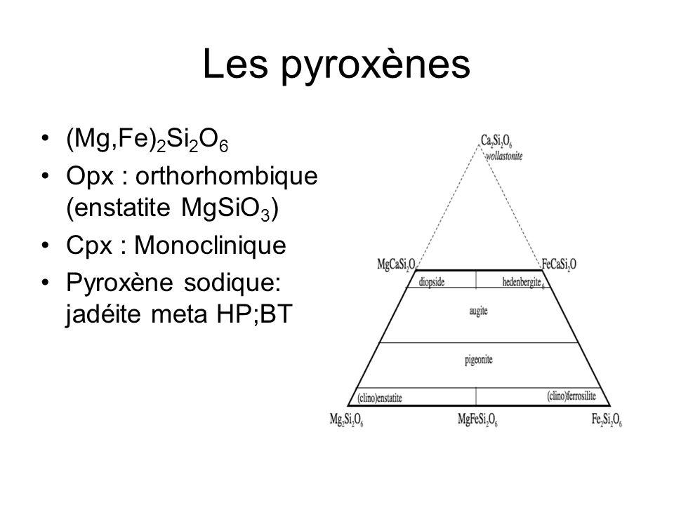 Les pyroxènes (Mg,Fe) 2 Si 2 O 6 Opx : orthorhombique (enstatite MgSiO 3 ) Cpx : Monoclinique Pyroxène sodique: jadéite meta HP;BT