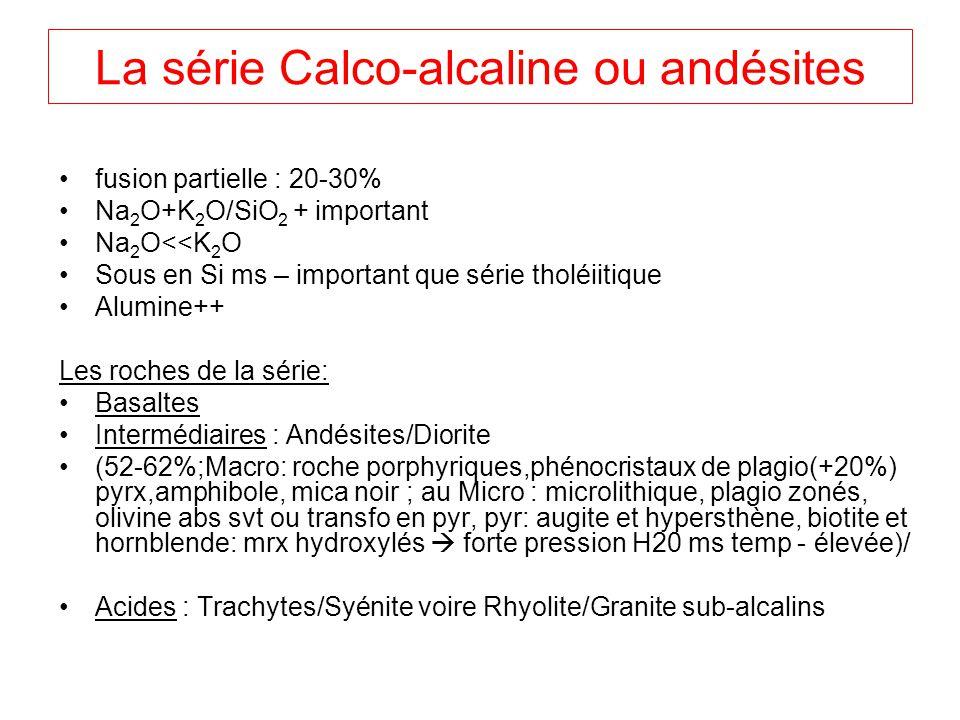 La série Calco-alcaline ou andésites fusion partielle : 20-30% Na 2 O+K 2 O/SiO 2 + important Na 2 O<<K 2 O Sous en Si ms – important que série tholéi