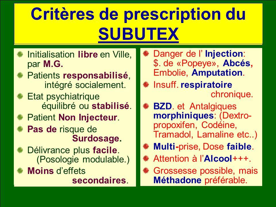 Critères de prescription de la METHADONE Initialisation en C.S.S.T. (Montée progressive: par doses quotidiennes.) Patients en situation de grande préc