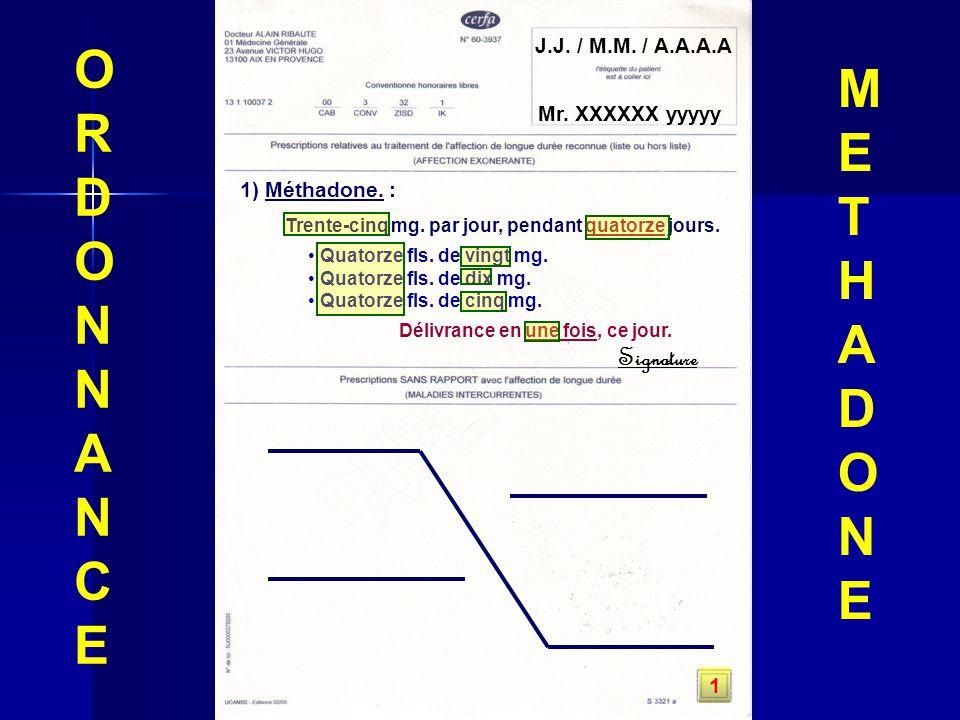 J.J. / M.M. / A.A.A.A Mr. XXXXXX yyyyy 1) Méthadone. : Trente-cinq mg. par jour, pendant quatorze jours. Quatorze fls. de vingt mg. Quatorze fls. de d