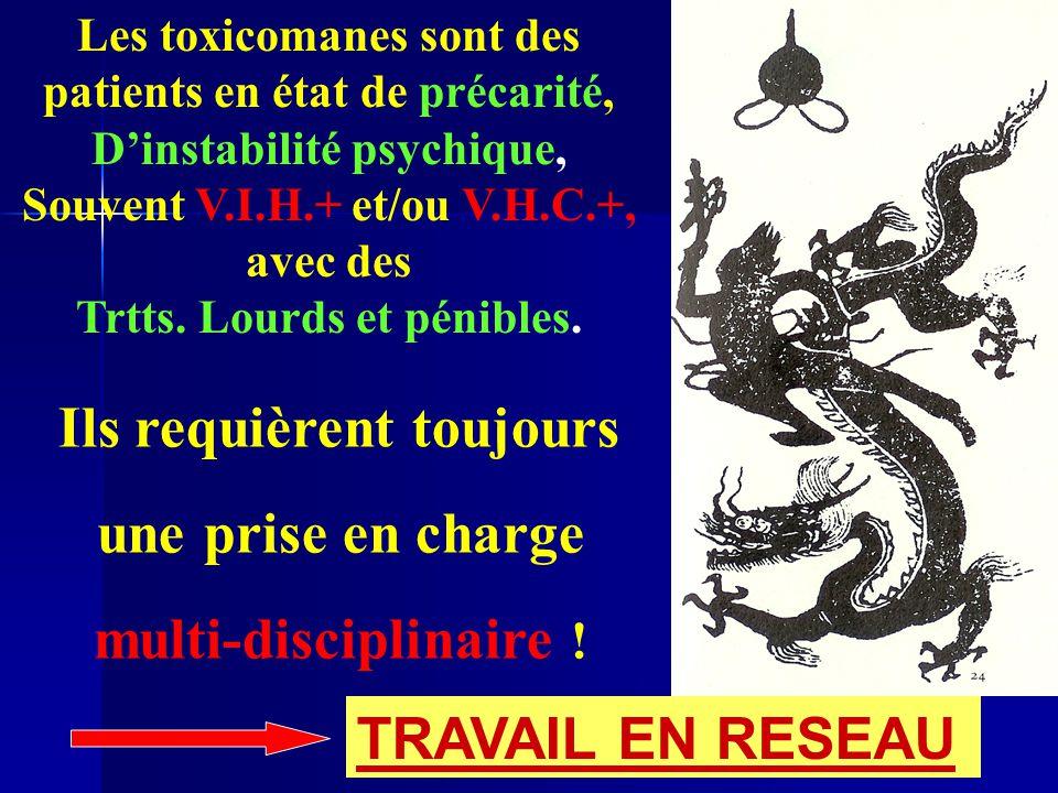 Les toxicomanes sont des patients en état de précarité, D'instabilité psychique, Souvent V.I.H.+ et/ou V.H.C.+, avec des Trtts. Lourds et pénibles. Il
