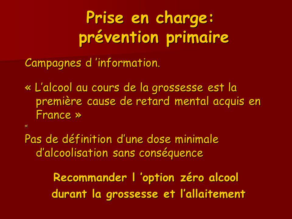 Prise en charge: prévention primaire Campagnes d 'information. « L'alcool au cours de la grossesse est la première cause de retard mental acquis en Fr