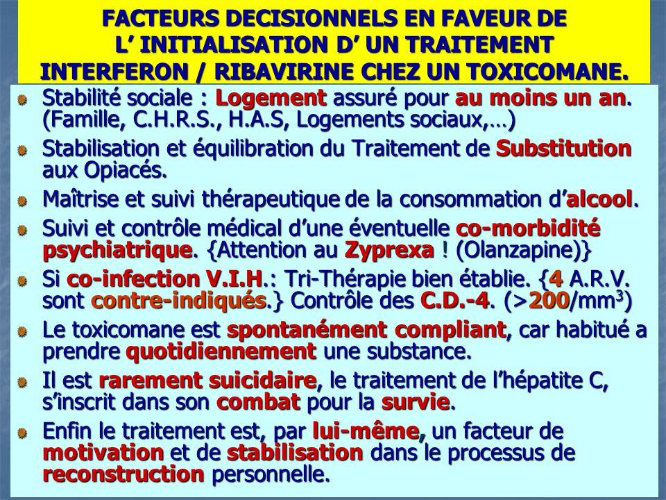FACTEURS DECISIONNELS EN FAVEUR DE L' INITIALISATION D' UN TRAITEMENT INTERFERON / RIBAVIRINE CHEZ UN TOXICOMANE. Stabilité sociale : Logement assuré