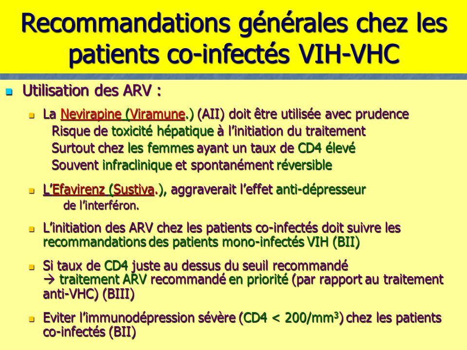 Utilisation des ARV : La Nevirapine (Viramune.) (AII) doit être utilisée avec prudence Risque de toxicité hépatique à l'initiation du traitement Surto