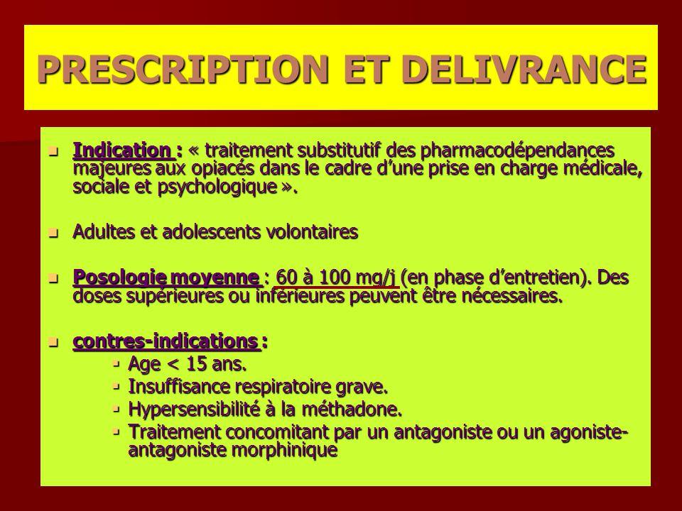 Indication : « traitement substitutif des pharmacodépendances majeures aux opiacés dans le cadre d'une prise en charge médicale, sociale et psychologi