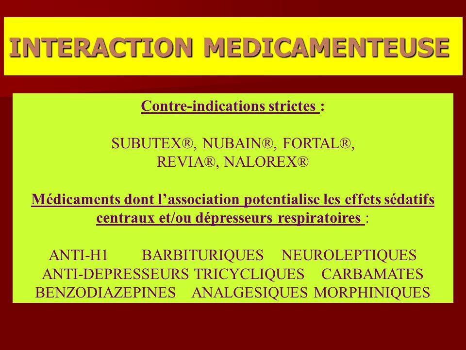 Contre-indications strictes : SUBUTEX®, NUBAIN®, FORTAL®, REVIA®, NALOREX® Médicaments dont l'association potentialise les effets sédatifs centraux et