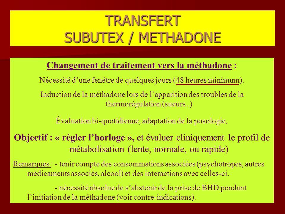 Changement de traitement vers la méthadone : Nécessité d'une fenêtre de quelques jours (48 heures minimum). Induction de la méthadone lors de l'appari