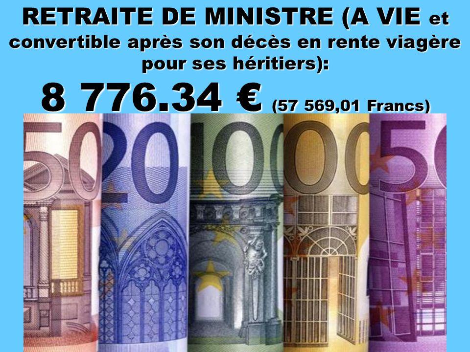 RETRAITE DE DEPUTE (A VIE): 9 298.21 € (60 992.25 Francs)