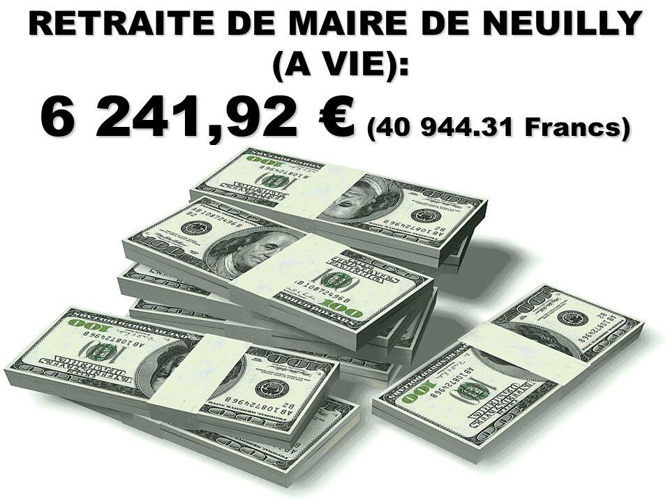 RETRAITE DE MINISTRE (A VIE et convertible après son décès en rente viagère pour ses héritiers): 8 776.34 € (57 569,01 Francs)