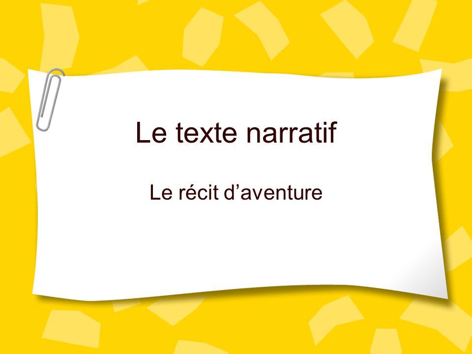 Le texte narratif Le récit d'aventure