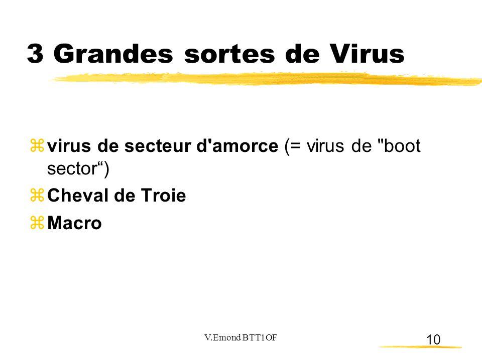 10 3 Grandes sortes de Virus  virus de secteur d'amorce (= virus de