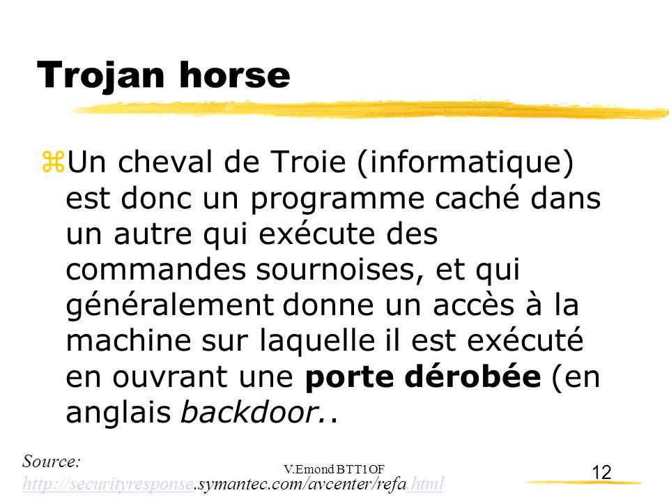 12 Trojan horse  Un cheval de Troie (informatique) est donc un programme caché dans un autre qui exécute des commandes sournoises, et qui généralement donne un accès à la machine sur laquelle il est exécuté en ouvrant une porte dérobée (en anglais backdoor..