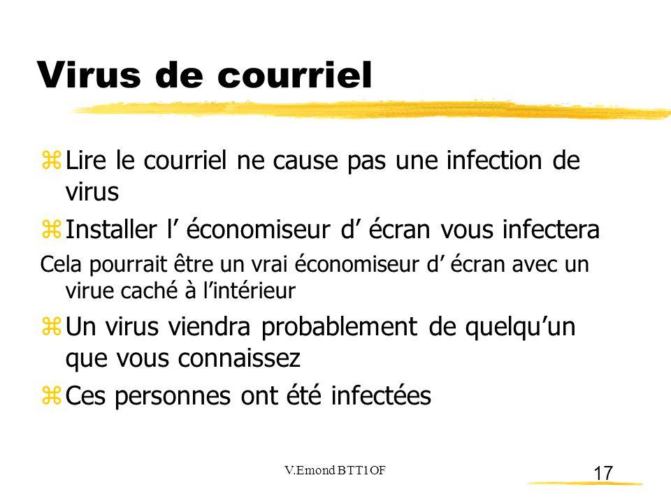 17 Virus de courriel  Lire le courriel ne cause pas une infection de virus  Installer l' économiseur d' écran vous infectera Cela pourrait être un v