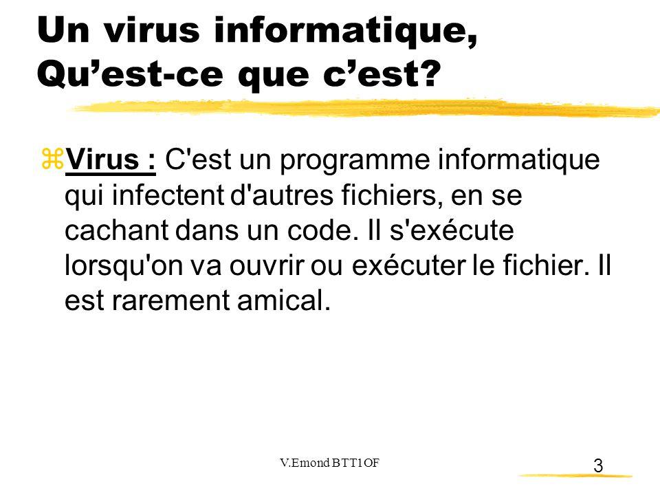 3 Un virus informatique, Qu'est-ce que c'est?  Virus : C'est un programme informatique qui infectent d'autres fichiers, en se cachant dans un code. I