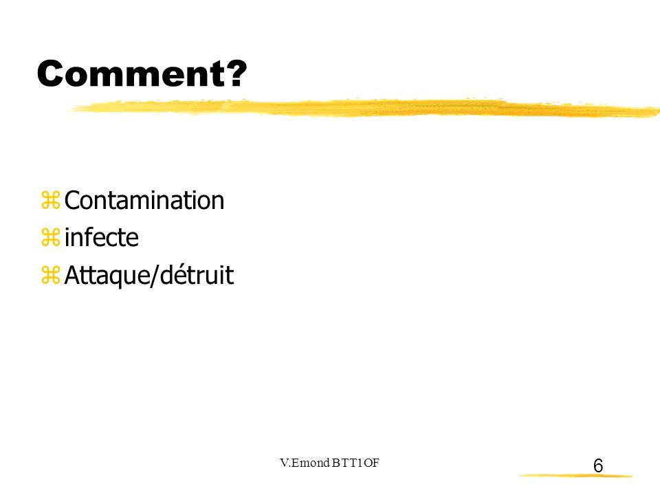 6 Comment?  Contamination  infecte  Attaque/détruit V.Emond BTT1OF