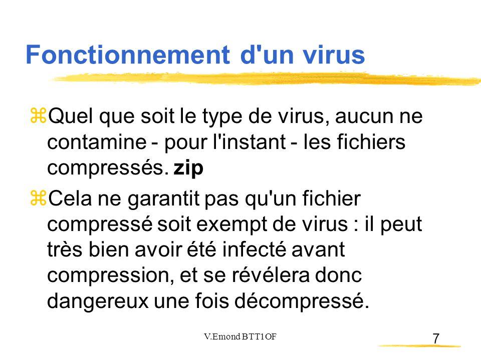 7  Quel que soit le type de virus, aucun ne contamine - pour l'instant - les fichiers compressés. zip  Cela ne garantit pas qu'un fichier compressé