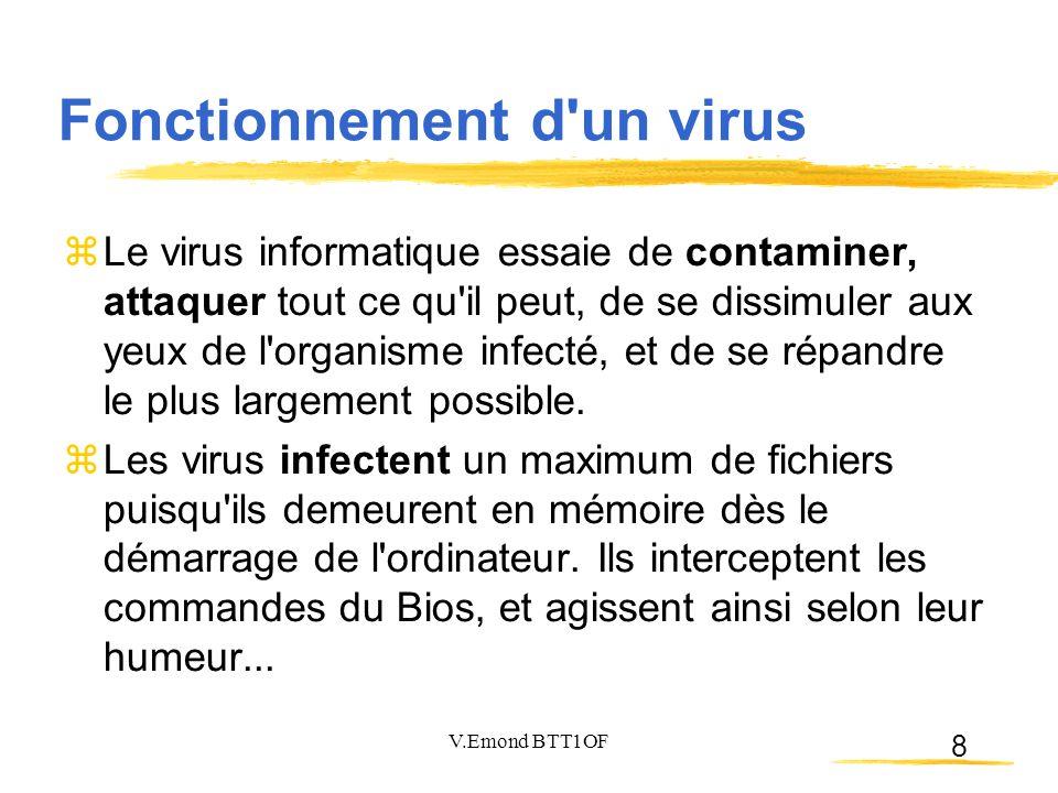 8  Le virus informatique essaie de contaminer, attaquer tout ce qu il peut, de se dissimuler aux yeux de l organisme infecté, et de se répandre le plus largement possible.
