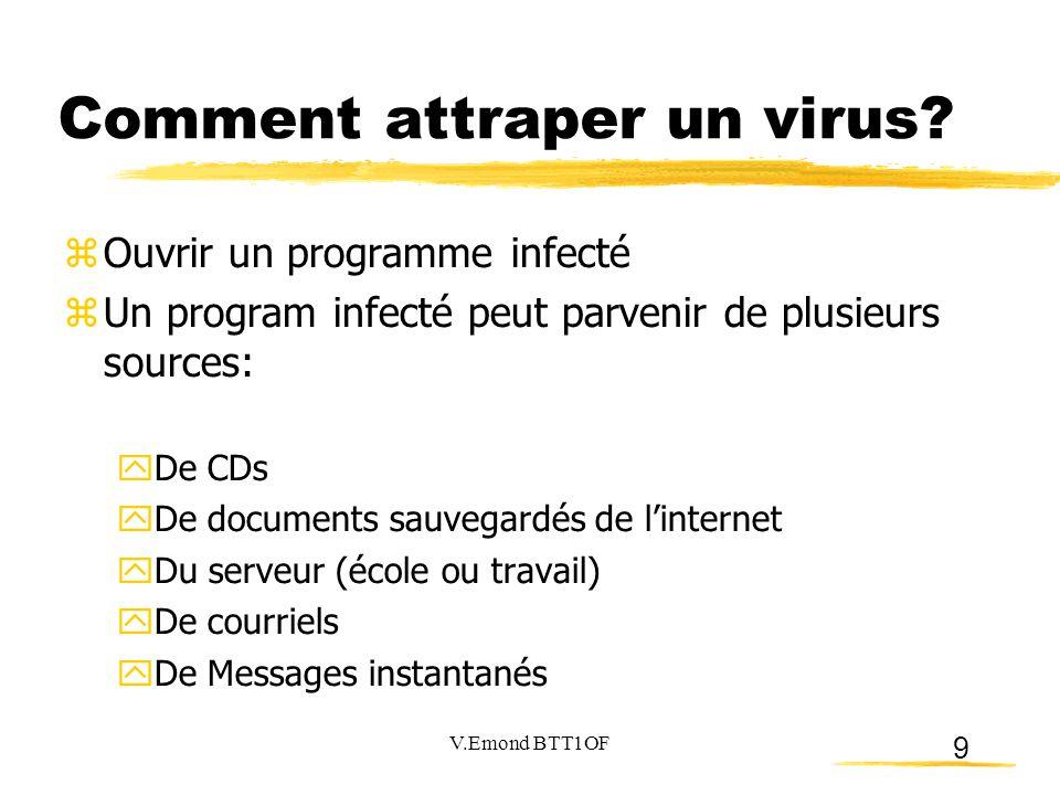 9 Comment attraper un virus?  Ouvrir un programme infecté  Un program infecté peut parvenir de plusieurs sources:  De CDs  De documents sauvegardé