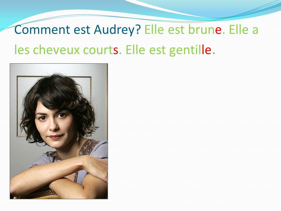 Comment est Audrey Elle est brune. Elle a les cheveux courts. Elle est gentille.