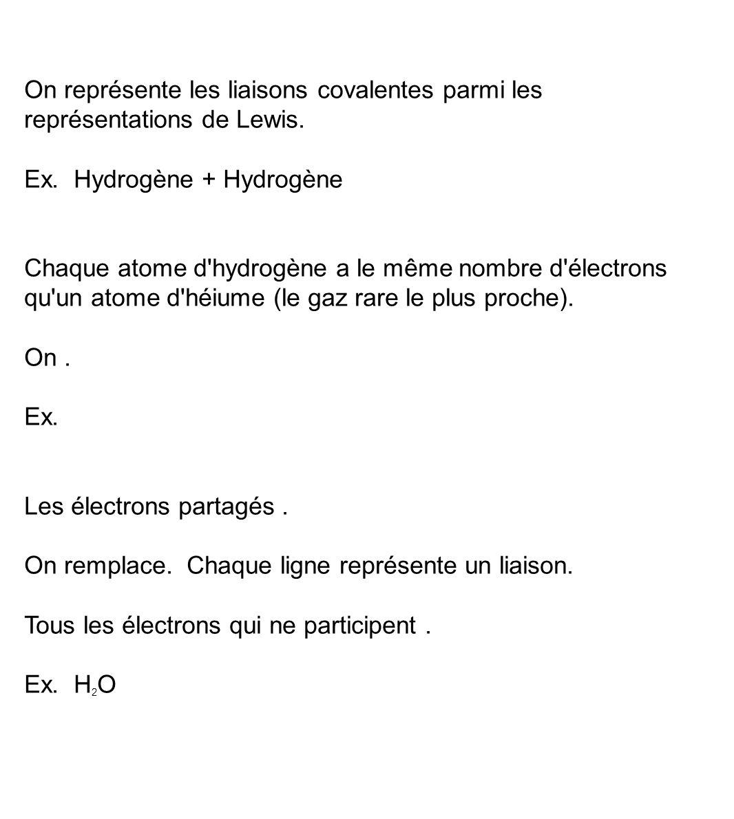 On représente les liaisons covalentes parmi les représentations de Lewis. Ex. Hydrogène + Hydrogène Chaque atome d'hydrogène a le même nombre d'électr