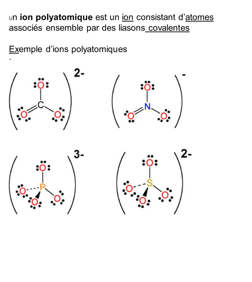 U n ion polyatomique est un ion consistant d'atomes associés ensemble par des liasons covalentes Exemple d'ions polyatomiques ·