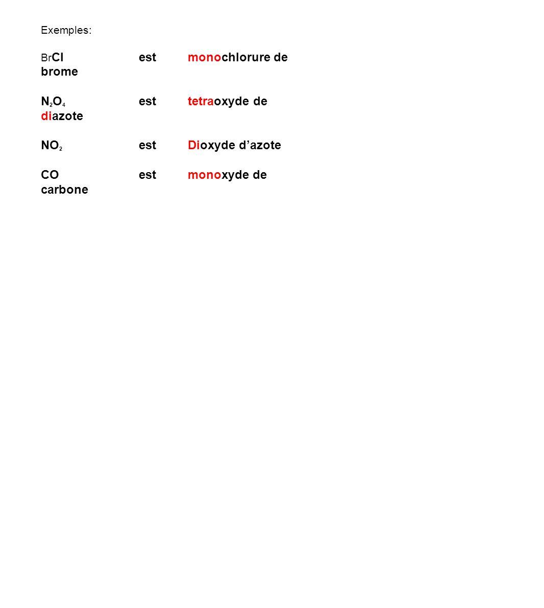 Exemples: Br Clestmonochlorure de brome N 2 O 4 est tetraoxyde de diazote NO 2 estDioxyde d'azote COest monoxyde de carbone