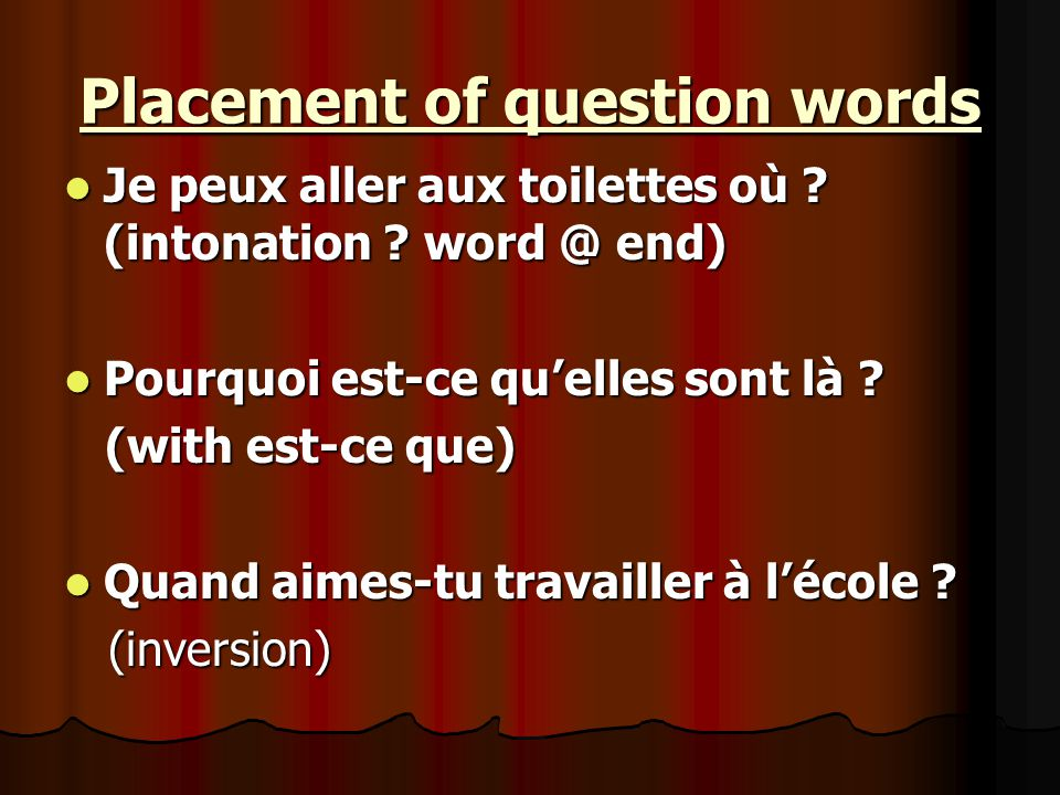 qui = used to ask about people qui = who(m) qui = who(m) de qui = about/ from who(m) de qui = about/ from who(m) à qui = to who(m) à qui = to who(m) pour qui = for whom.