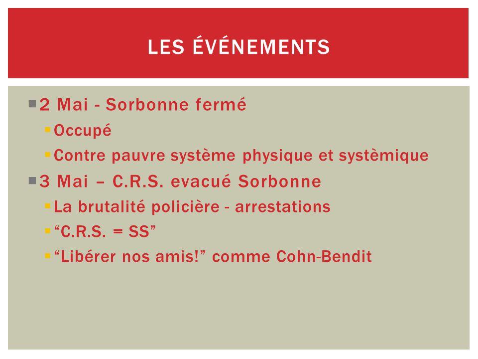  2 Mai - Sorbonne fermé  Occupé  Contre pauvre système physique et systèmique  3 Mai – C.R.S.