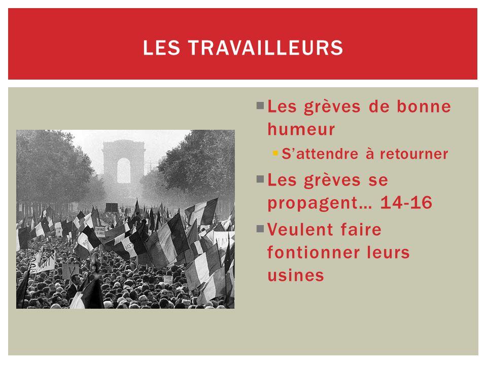  Les grèves de bonne humeur  S'attendre à retourner  Les grèves se propagent… 14-16  Veulent faire fontionner leurs usines LES TRAVAILLEURS