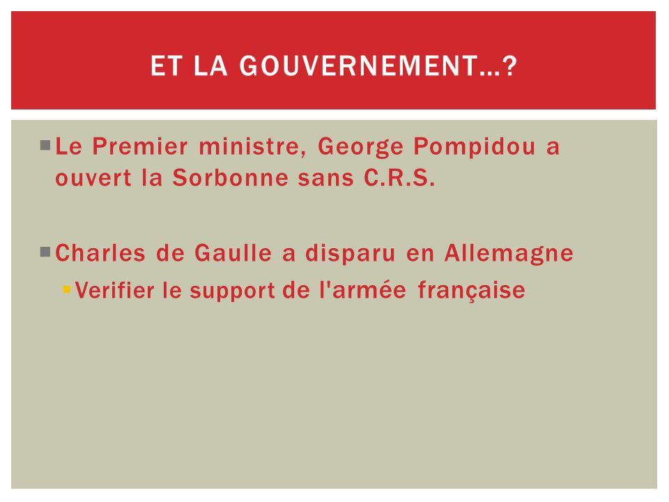  Le Premier ministre, George Pompidou a ouvert la Sorbonne sans C.R.S.