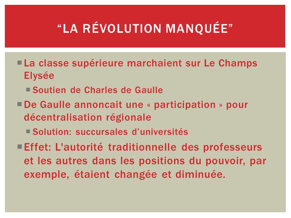  La classe supérieure marchaient sur Le Champs Elysée  Soutien de Charles de Gaulle  De Gaulle annoncait une « participation » pour décentralisation régionale  Solution: succursales d'universités  Effet: L autorité traditionnelle des professeurs et les autres dans les positions du pouvoir, par exemple, étaient changée et diminuée.
