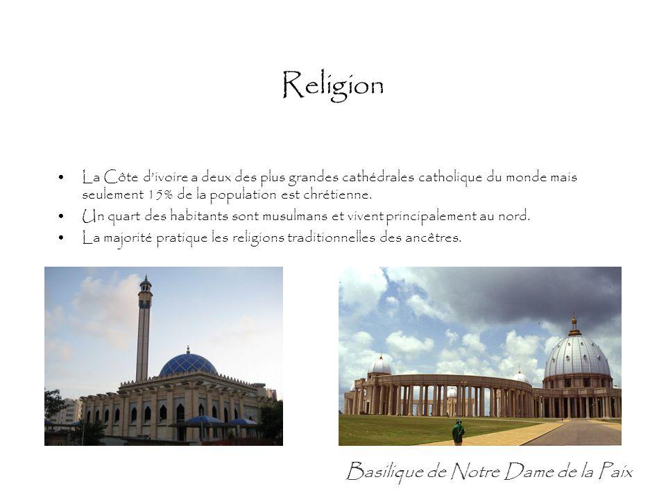 Religion La Côte d'ivoire a deux des plus grandes cathédrales catholique du monde mais seulement 15% de la population est chrétienne. Un quart des hab