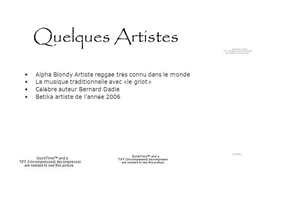 Quelques Artistes Alpha Blondy Artiste reggae tr è s connu dans le monde La musique traditionnelle avec « le griot » C é l è bre auteur Bernard Dadie